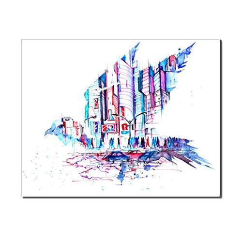 sjkkad Moderne waterverf Metropole stad vogel wooncultuur geschenk winkel kantoor decoratie canvas kunst schilderijen abstract 60x80 cm geen lijst