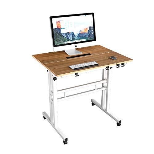 DlandHome Carro de Escritorio Sentado & de Pie Mesa de Escritorio móvil de Altura Ajustable para Sentarse Mesa Vertical de pie Escritorio móvil de la estación de Trabajo, Roble