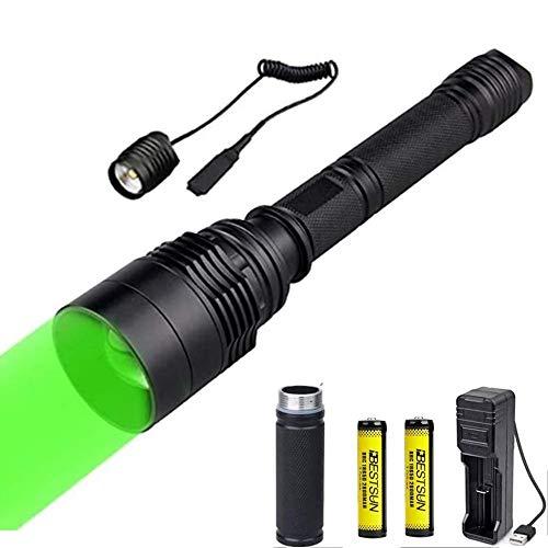 LUXJUMPER Torcia da caccia verde, torcia a LED con luce verde 300 iarde Torcia tattica zoomabile Lampada da coyote Predator Hog per visione notturna Pressostato da caccia e batterie incluse
