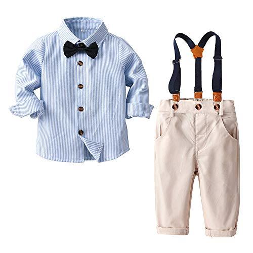 Nwada Kleine Jungs Gentleman Kleidung Set 4 StüCk Party Outfit Langarm Fliege Top + Hose Kleinkinder WinteranzüGe SkyBlue 2-3 Jahre
