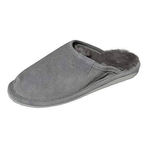 Lammfell Hausschuhe Frau Holle Premium Damen Fellschuhe aus 100% Merino Schaffell Größe EUR 40, Farbe Grau