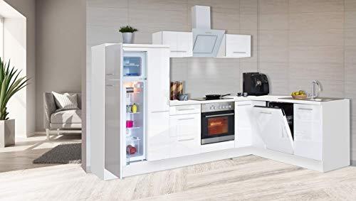 respekta Kuchnia kątowa kuchnia w kształcie litery L kuchnia biała wysoki połysk 290 x 200 cm