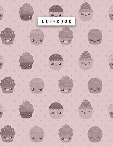Notebook Rosy Brown Color Big Kawaii Cupcakes Patterns Cover Lined Journal: College, Financial, Daily Journal, A4, Planning, 21.