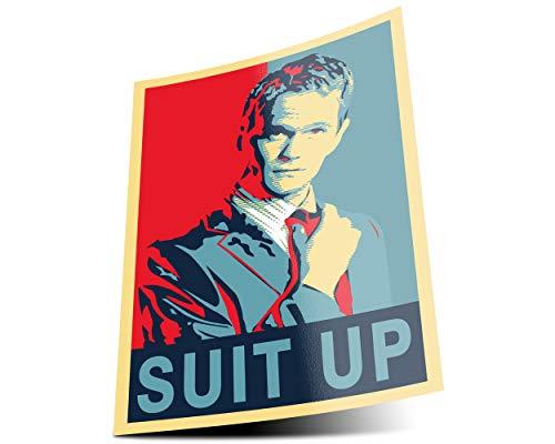 GREAT ART Cartel Azul Rojo Barney Stinson - DIN A1 59,4 x 84,1 cm Mural cómo conocí a tu Madre Traje póster Impresionante decoración roja y Azul Actor de Comedia éxito - DIN A1c