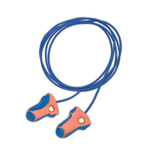 Howard Leight LT-30 Laser Trak Orange and Blue Detectable Foam Corded Earplugs, OSFA, Blue, One Size Fits All (Pack of 100)