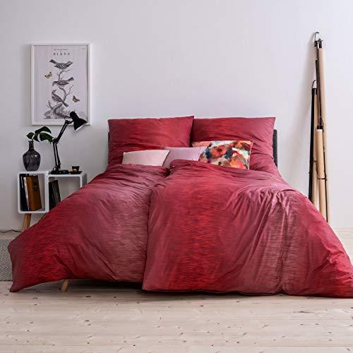 ESTELLA Mako Interlock Jersey Bettwäsche Kaleb mohn 1 Bettbezug 135x200 cm + 1 Kissenbezug 80x80 cm