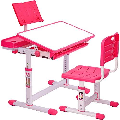 Bureau Ergonomique avec Une Chaise Et Étui à Crayons pour Enfants Réglage en Hauteur-Tabouret d'enfants Apprendre Et s'Amuser Chambre d'enfants Equipement De Salle Nouvelle Année Scolaire (Pink)