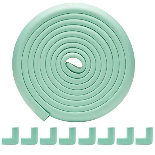 Te Fiti コーナー ガード クッション 全長5m +8個 コーナー ガード 赤ちゃん けが防止 保育園での使用 両面テープ 付き (グリーン)