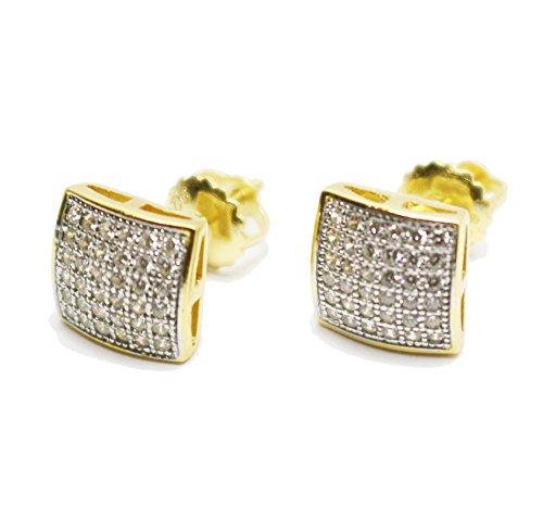 Para hombre/para mujer 14K amarillo acabado dorado, Real Plata 925pequeño cuadrado elegante pendientes