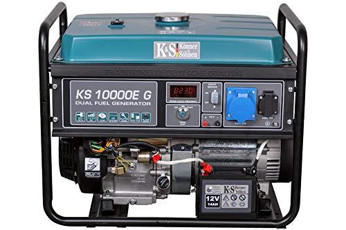 Könner & Söhnen KS 10000E G - Hybrid Benzin-LPG 4-Takt Stromerzeuger, Notstromaggregat 7500 Watt, 1x16A 1x32A Generator mit automatischem Spannungsregler 230V, E-Start, Digitale Anzeige