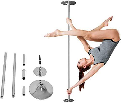 RELAX4LIFE 45 mm Tanzstange, drehbare Pole Dance Stange mit Stativ & CD, Static & Spinning, höhenverstellbare Stripstange: 225-274 cm, für Kinder & Erwachsene, bis 200 kg Belastbar, Edelstahl, silber