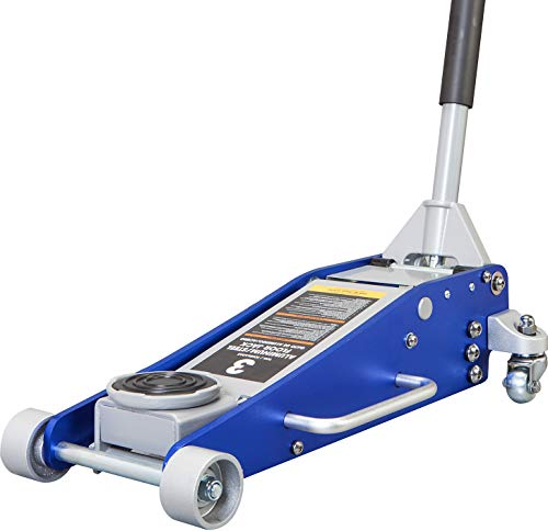 TCE AT830011LU Torin Hydraulic Low Profile Aluminum and Steel Racing Floor Jack with Dual Piston Quick Lift Pump, 3 Ton (6,000 lb) Capacity, Blue