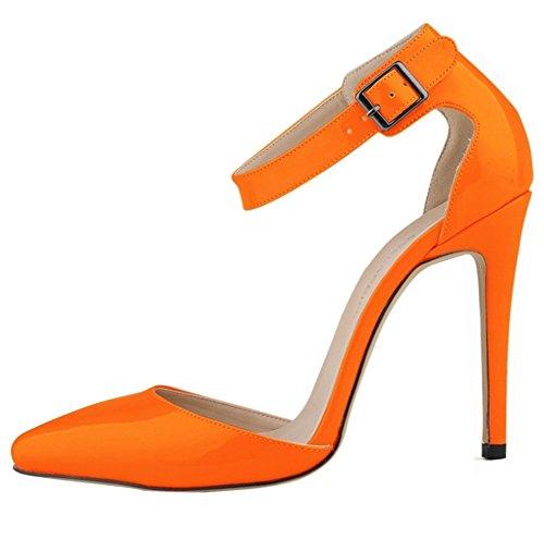 Minetom Spitze Damen Pumps Stiletto High Heels Lack Leder-Optik Schuhe Metallic Party Abendschuhe Hochzeit Abiball Jennika Orange EU 41