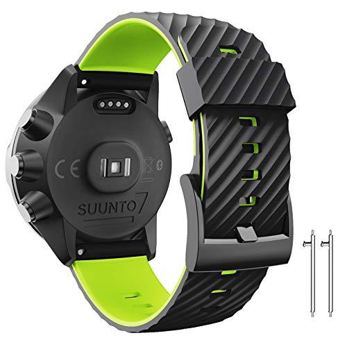 ANBEST Cinturino di ricambio compatibile con Suunto 7/Suunto 9, cinturino in silicone da 24 mm, per Suunto 9 baro/Spartan Sport/D5 Smart Watch, nero/verde