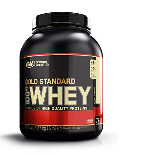 Optimum Nutrition ON Gold Standard 100% Whey Proteína en Polvo Suplementos Deportivos, Glutamina y Aminoacidos, BCAA, Helado de Vainilla, 73 porciones, 2.27 kg, Embalaje puede variar