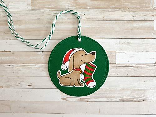 Geschenkanhänger Weihnachten groß rund mit Hund, handgemacht