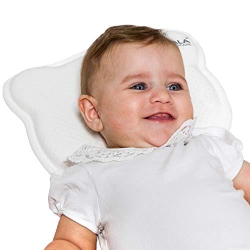 Babykissen Plagiozephalie, abnehmbar (mit zwei Kissenbezügen), hilft ein Plattkopfsyndrom vorzubeugen und zu behandeln. Aus Memory Foam - Weiß - Registriertes Design KBC®