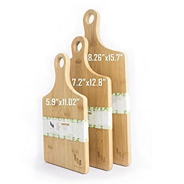 VISHTEA Heart Shaped Bamboo Cutting Board Set Chopping Board with Handle Thick Bamboo Wood Cutting Board (Handle 3pcs)