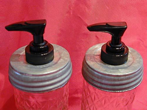 (2) Lined regular/standard opening Galvanized Lid with Black Pump (Double Pack) - Mason Jar Lotion/Soap dispenser Converter, Lid & Pump