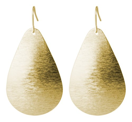 Brushed Gold and Silver Teardrop Earring (Gold) | SPUNKYsoul Collection