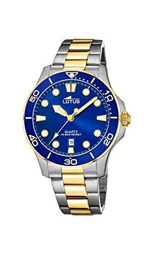 LOTUS Reloj Modelo 18763/1 de la colección Excellent, Caja de 38,5 mm Azul con Correa de Acero Bicolor para señora