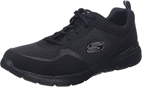 Skechers Women's FLEX APPEAL 3.0-GO FORWARD Trainers, Black (Black Leather/Mesh/Trim BBK), 8 (41 EU)