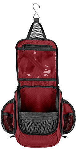 Compact Hanging Toiletry Bag and Organizer, Water Resistant with Mesh Pockets (Maroon)
