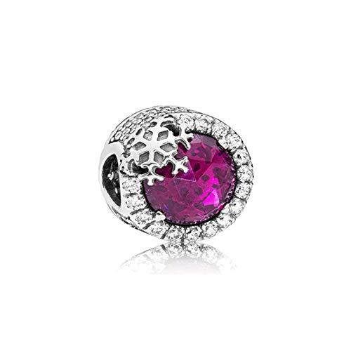 LISHOU DIY 925 Plata Esterlina Sparkling Cerise Pink Snowflake Fit Original Pandora Pulseras Collar para Mujeres Encanto Cuentas Fabricación De Joyas