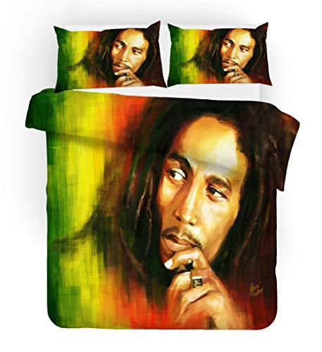 BSZHCT Juego de Funda de Edredón 3 Piezas Bob Marley Funda Nórdica Microfibra Juego de Cama...