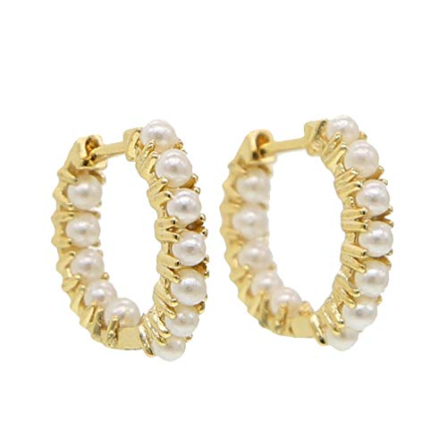 Yhhzw Pendientes De Joyería De Moda Para Mujer, Pendientes Redondos De Perlas De Mar, Pendientes De Aro, Joyería De Oro