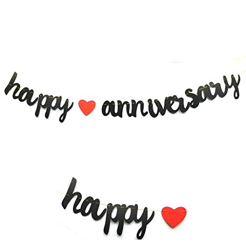 Happy Anniversary Banner Prestrung Vintage Red & Black Paper Sign for First Wedding Anniversary Party Decoration Photo Props/Anniversary Ceremony Banner (Black)