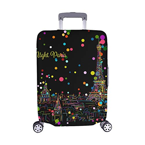Night Pariscityscape Eifel Tower Sketch Your Spandex Trolley Case Travel Luggage Protector Suitcase Cover 28.5 X 20.5 Inch