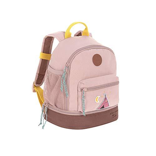 LÄSSIG Kinderrucksack mit Brustgurt Kindergartentasche Kindergartenrucksack 27 cm, 4,5 Liter oben, 1,5 Liter unten, 3 Jahre/Mini Backpack Adventure Tipi, Altrosa