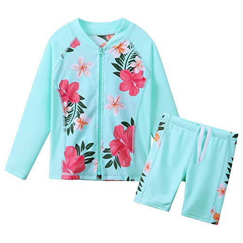 BAOHULU 女の子 子供 女児水着 みずぎ 可愛い 花柄 50%UVカット 日焼け止め ラッシュガード 半袖 キュートセパレートスタイル水着 柔らかい 快適 スイミングウェア S302_CyanFlower_152/158