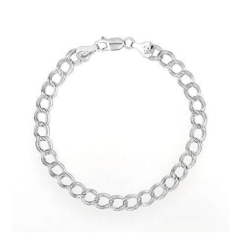 PORI JEWELERS 925 Sterling Silver Italian Charm Link Chain Bracelet for Men and Women - Multiple (8)