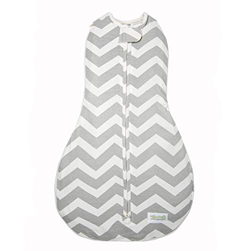 Woombie Grow with Me Baby Swaddle, Convertible Swaddle Fits Babies 0-9 Months, Expands to Wearable Blanket for Babies up to 18 Months, Sleepy Grey Chevron