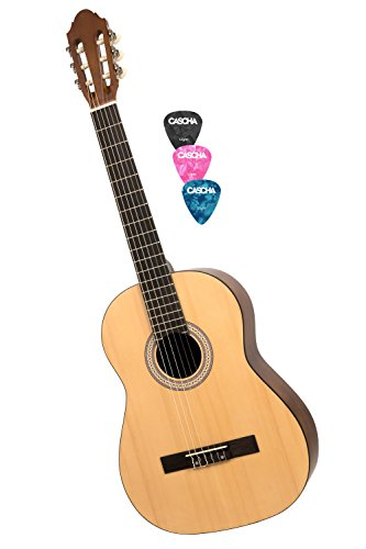 CASCHA HH 2040 Guitarra Clásica 4/4, mate natural, tapa de pícea, con 3 púas