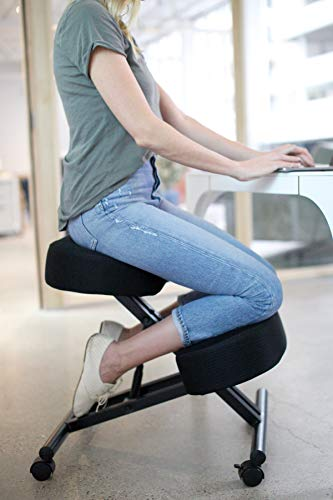 "Sleekform Kneeling Posture Chair | Ergonomic Office Desk Knee Stool Relieving Back & Neck Pain | Computer Seat, Wheels & Adjustable Height | Backless Meditation Seat | 4"" Ergo Mesh Cushions"