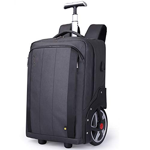 AI-ML 2-in-1 Rolling Rugzak Trolley Case, Verborgen Pull Bar, Duurzaam, Laptop voor Air Travelling