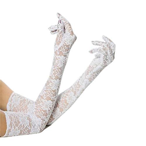 LOVARTS BEAUTY Damen Blumen Spitzen Handschuhe 5 Finger Lange Brauthandschuhe für Hochzeit Party Sexy Abendkleid (Weiß)