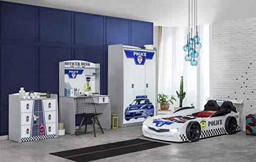 Autobett Kinderzimmer Police, 4-TLG. Lattenrost + Rost Rubin 26 Leisten (+50 €), Matratze ohne Matratze, Zubehör ohne Zubehör