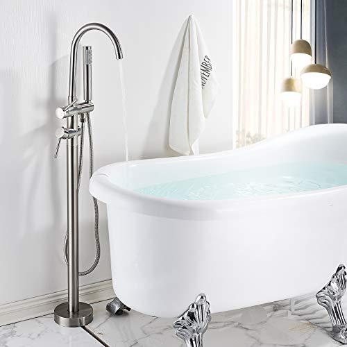 Rozin Freistehende Badewannen Armatur Nickel Gebürstet Messing Wasserhahn 2 Griffe 360°Drehbarer Auslauf mit Handbrause 150cm Schlauch Badezimmer Wannenarmaturen