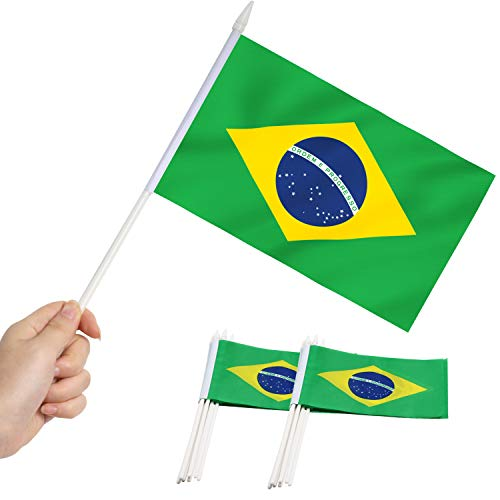 Anley Brazil Mini Flag 12 Pack - Hand Held Small Miniature Brazilian Flags on Stick - Fade Resistant & Vivid Colors - 5x8 Inch with Solid Pole & Spear Top