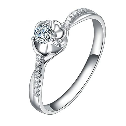 Amody Anillo Mujer Oro 18K, Anillo para Compromiso Flor Diseño con 0.11ct Blanco Redonda Forma Diamante Tamaño 6,75