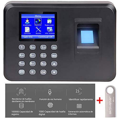 Aktivstar Máquina Fichar de Asistencia Biométrica de Huella Dactilar con Sistema Española Pantalla LCD Memoria de 8GB, con Capacidad de 1000 Huellas, kit de seguridad