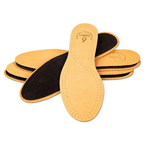 biped 3 Paar Set Leder Einlegesohlen mit Aktivkohle,Ledersohle gegen Schweißfüße, weiche Leder Einlagen für Damen und Herren Schuhe z1724(38-39)