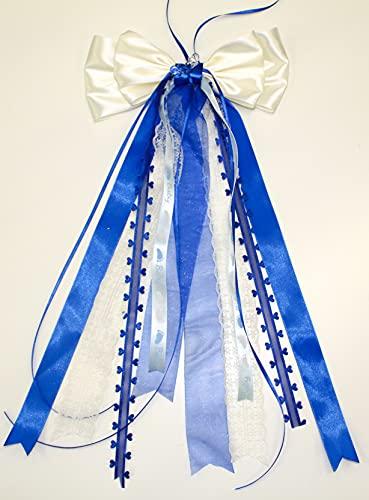 CaPiSo 20 x 40 cm grandes lazos de raso para bebé, sin manualidades, para cumpleaños, nacimiento, bautizo, tarta de pañales, lazo doble (crema y azul oscuro).