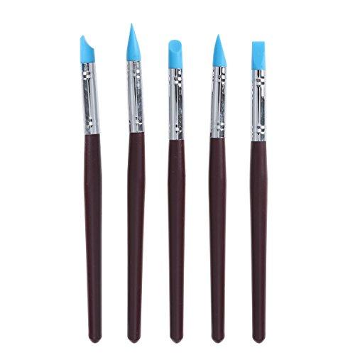 Bestonzon - Juego de 5 pinceles de silicona para pintura artística de enmascaramiento y moldeado de arcilla líquida (rojo oscuro)