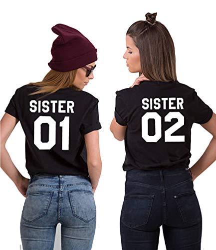 Camiseta de manga corta para 2 niñas con texto 'Best Friends' de Sister para mejores amigos, camiseta de manga corta, de algodón, color blanco y negro, 1 pieza 01-negro L