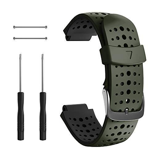 NotoCity Correa para Garmin Forerunner 235, Correa de Reloj de Silicona Suave Compatible con Garmin Forerunner 235/220/230/620/630/735 XT (Negro+Verde Militar)